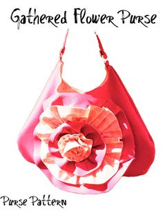 Gathered Flower Purse Pattern and Tutorial by DixieQuilts