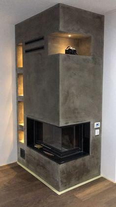 Corner Stone Fireplace, Home Fireplace, Modern Fireplace, Living Room With Fireplace, Living Room Decor, Home Room Design, House Design, Contemporary Fireplace Designs, White Exterior Houses