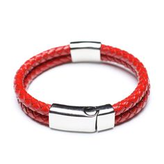 Red Leather Bracelet, Steel Clasp, 00594