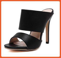 8005c7f034f811 Aisun Women's Classic Simple Open Toe Dress Slip On Stiletto High Heels  Slide Sandals Mules Shoes