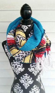 Blanket Scarf Mexican Serape Infinity Cowl  Bohemian  Tribal  Ethnic Chunky Scarf. Boho Wrap