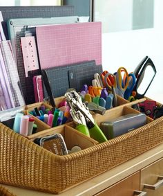 Organization tip: use desktop and office supply organizers to keep sewing/crafting supplies neat and tidy.
