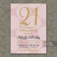 21st Birthday Invitations - Pink & Gold Twenty-first Birthday Invites - 21 Or Any Age - Gold Glitter and Pink Birthday Printables - PHD