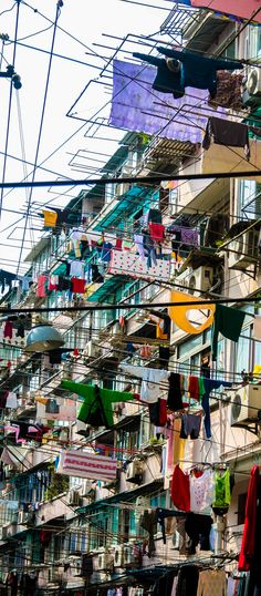 Laundry Day in Shanghai, China. We were told that people dry their laundry in the sunshine for good luck.