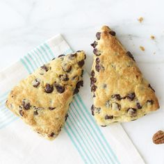 Sour Cream-Chocolate Chip Scones: My parents don't know what exactly scones are, but they like them.  Pretty easy recipe.  Use really cold butter (I put mine in the freezer for a while before incorporating it).