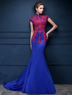 Blue Custom Tailored Qipao / Cheongsam Dress with Carpet Train - CozyLadyWear