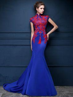 Blue Custom Tailored Qipao / Cheongsam Dress with Carpet Train - CozyLadyWear