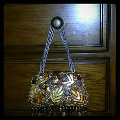Handmade beaded purse Brown buttons and leaves  dangling beads at the bottom brand new never used , beautiful bag Bags Mini Bags