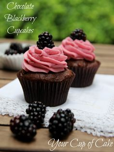 Chocolate Blackberry Cupcakes, from a cake mix!
