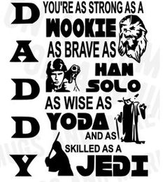 #svg Father's Day Star Wars SVG file **Daddy you're as strong as..** by OnAwhimMugsNmore on Etsy
