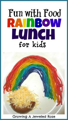 This rainbow lunch is easy to prepare and kids love it! A simple way to make mealtime FUN!-- I'd want to use natural food coloring.but this has potential. Rainbow Activities, Activities For Kids, Crafts For Kids, Toddler Meals, Kids Meals, What Makes A Rainbow, Rainbow Pasta, Cooking With Kids, Cute Food