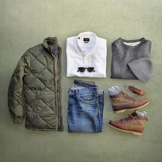 """Weekend mode engaged.  Shirt: @jachsny white washed oxford Jacket: @jachsny puffer jacket Denim: @alexmillny japanese selvedge Beanie: @americantrench…"""