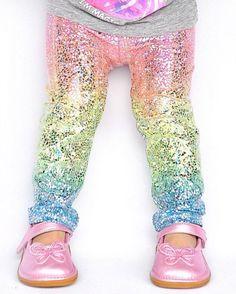 Unicorn leggings- baby girl leggings- toddler leggings- kids leggings- metallic, sparkly holographic leggings- whimsical rainbow leggings