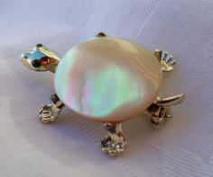 Adorable Vintage MOTHER of PEARL TURTLE by RuthiesThisandThat, $9.00