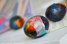 new way to decorate Easter eggs - melted crayons!