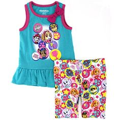 Disney Nickelodeon Character Toddler Girls Tank Top and Shorts Set 3T Aqua Paw Patrol >>> See this great product-affiliate link-affiliate link.