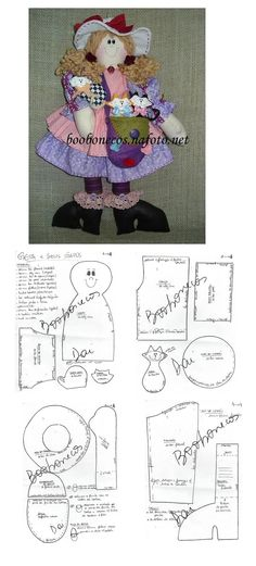 Doll and her Cats Pattens. Doll Clothes Patterns, Doll Patterns, Fabric Patterns, Country Crafts, Doll Tutorial, Felt Toys, Fabric Art, Beautiful Dolls, Cute Gifts