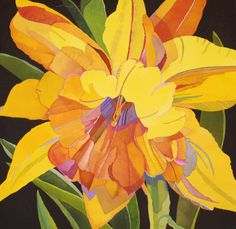 Big Daffodil by Sari Staggs - tattoo ideas Acrylic Flowers, Watercolor Flowers, Abstract Watercolor, Watercolor Paintings, Watercolours, Abstract Art, Botanical Illustration, Watercolor Illustration, Flower Art