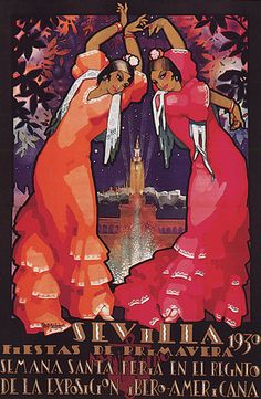 Sevilla 1930 Spain Girls Flamenco Dance Spring Party Vintage Poster Repro Small | eBay