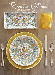 Le Cadeaux Rooster Yellow Melamine Dinnerware