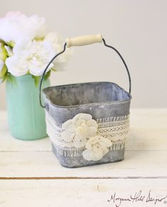 Flower Girl Basket Galvanized Tin Burlap Lace by braggingbags