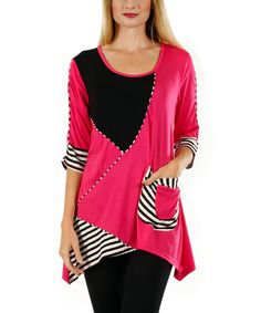 Aster Pink & Black Patchwork Sidetail Tunic | zulily