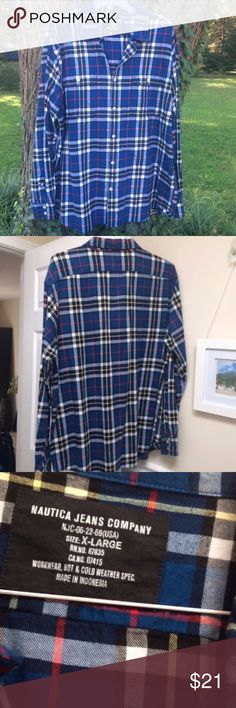 NAUTICA blue white Button down plaid shirt NAUTICA JEANS CO. Long sleeve Button down plaid shirt XL, EUC. Open to offers. Nautica Shirts Casual Button Down Shirts