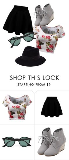 """""""Teen Summer Set"""" by abigail-truenow on Polyvore featuring Ray-Ban, WithChic, Maison Michel, women's clothing, women, female, woman, misses and juniors"""