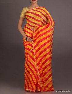 Shaheen Alternating Red And Yellow #LehariyaSilkSaree