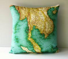 Pillow cover 16x16 map cushion, THAILAND map organic cotton,