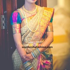 Aren't Pattu sarees and puff sleeve blouses a match made in heaven? Try these dramatic puff sleeve blouses for pattu sarees now! Traditional Blouse Designs, Simple Blouse Designs, Stylish Blouse Design, Sari Blouse Designs, Bridal Blouse Designs, Blouse Patterns, Lehenga Designs, Blouse Styles, Kurti Sleeves Design
