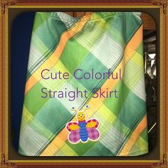 Very cute Green and Yellow Skirt Very Cute Green and Yellow Skirt with Blue and Red lines through out! Fully lined! Brand new never worn! Fiorlini International Skirts