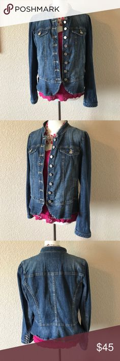 🌸Spring Weekend Sale🌸 WHBM Denim Jacket White House Black Market Denim jacket.  Military style with Ruffled bottom for a feminine look.  Matching buttons at Sleeve. Unknown size, please see pictures of measurements.  Good condition. Arm length is from shoulder Seem. White House Black Market Jackets & Coats Jean Jackets