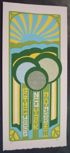 Original silkscreen concert poster for Phish on May 27th, 28th, and 29th at The Bethel Woods Center For The Arts in Bethel, NY in 2011. It is printed on Watercolor Paper with Acrylic Inks and measures around 10 x 22 inches.  Print is signed and numbered 6/120 by the artist Tripp.
