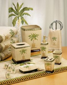 1000 images about palm tree shower curtain and bath for Palm tree bathroom ideas