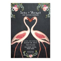 A fun and quirky wedding invitation featuring pink flamingoes and watercolour florals, set on a chalkboard effect background. Great for a tropical or summer wedding! Customise the wording to suit your requirements. Matching items available. Quirky Wedding Invitations, Chalkboard Wedding Invitations, Rustic Bridal Shower Invitations, Pink Invitations, Wedding Invitation Design, Wedding Stationery, Wedding Costs, Wedding Matches, Free Wedding