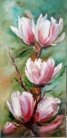 """Купить Картина маслом """" Ветка магнолии"""",30х60 (цветы, магнолия) - картина маслом"""