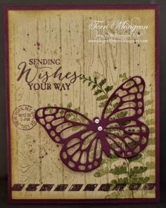 Butterfly Basics, Crumb Cake & Blackberry Bliss Cardstock, Mossy Meadow & Soft Suede Classic Stampin' Pad