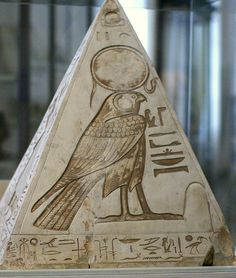 Egypt - pyramidion with carving of Horus