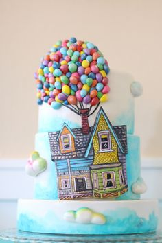 Up Themed Cake A Billion Tiny Hand Made Fondant Balloons Hand Painted House On Modeling Chocolate Small 3 Tier Cake