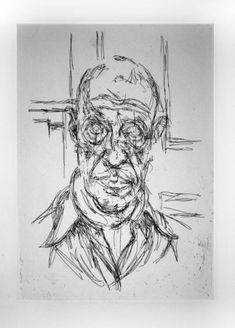 Gravure - Alberto Giacometti - Portrait de Michel Leiris