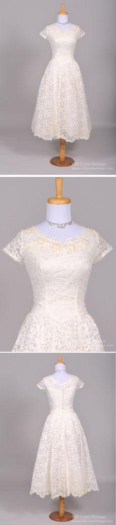 1950 SEQUIN LACE VINTAGE WEDDING DRESS