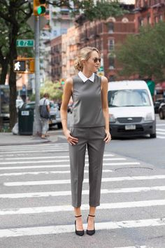 Cuffed Cropped Pants + Matching Top with Detachable CollarMEMORANDUM, formerly The Classy Cubicle