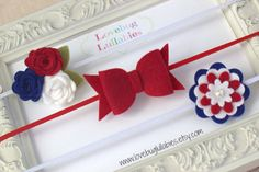 Fourth of July Headband in Red White Blue Felt by LullabyBlossoms