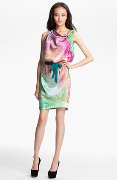 Pretty colors!  Just Cavalli Sleeveless Stretch Silk Dress available at #Nordstrom