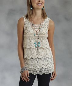 Another great find on #zulily! White Tiered Lace Tank - Women by Roper #zulilyfinds
