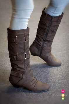 83e3289aefb6 Bumper Chika-01 Round Toe Knee High Buckle Boot (Taupe) Cute Boots
