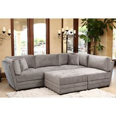 Harper Fabric 6 Piece Modular Chaise Sectional Sofa Custom Colors Sectional Sofas Furniture