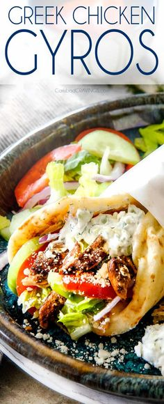Greek Chicken Gyros are easy flavorful make ahead and healthy winning! The combination of the BEST juicy Greek lemon chicken creamy cucumber dill tzatziki fresh crisp veggies and tangy feta wrapped in warm pita bread is out of this world! Chicken Gyro Recipe, Marinade Chicken, Greek Chicken Sandwich Recipe, Easy Chicken Gyros With Tzatziki Sauce, Chicken Souvlaki Pita, Greek Gyros, Bon Appetit, Chicken, Gastronomia