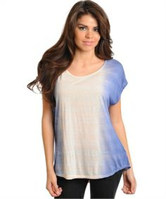A GRADIENT PRINT RELAXED FIT TOP WITH CAP SLEEVES AND ROUNDED BACK HEMLINE. https://www.opensky.com/metamorphicfashion